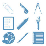 Black school goods, light blue linear icons. Part Royalty Free Stock Images