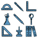 Black school goods linear icons. Part 3. Set of linear icons with stationery and school goods. Can be used for back to school design and stationery stores Royalty Free Stock Images