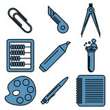 Black school goods linear icons. Part 2. Set of linear icons with stationery and school goods for use in logo or web design. Can be used for back to school Royalty Free Stock Images