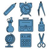 Black school goods linear icons. Part 1. Set of linear icons with stationery and school goods for use in logo or web design. Can be used for back to school Royalty Free Stock Photo