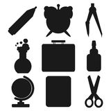 Black school goods silhouettes. Part 1. Set of Black silhouettes with stationery and school goods for use in logo or web design. Often used for back to school Stock Images