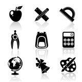 Black School Icons Set Royalty Free Stock Image