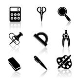 Black School Icons Set Royalty Free Stock Photo