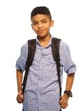 Black schoolboy. With backpack - waist up portrait Royalty Free Stock Photos
