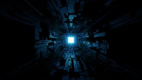 Black scifi space tunnel background wallpaper with nice glow 3d rendering vjloop