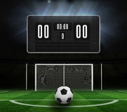 Black scoreboard with no score and football Royalty Free Stock Images