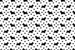 Black Scottish Terriers Scottie Dogs & Hearts on White. A seamless pattern of Scottish Terriers and hearts. The cute black `Scottie` dogs are scattered with the royalty free illustration