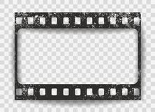 Black scratched grunge film strip with shadow on squared background. Vector. Royalty Free Illustration