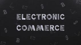 Title E-COMMERCE on background drawings dollars, bitcoin and credit card stock footage