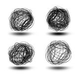 Black scribble balls Royalty Free Stock Photography