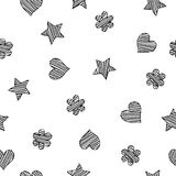 Black scribble shapes on white background, minimalistic concept seamless pattern. Vector Royalty Free Stock Photography