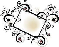 Black scroll Frame. An illustration of a black scroll frame with beautiful floral design, isolated on a white background Stock Image