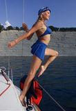 Black Sea. Young woman on a yacht off the coast. Black Sea Stock Photos