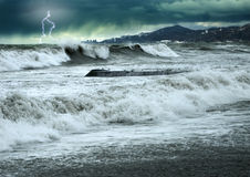 Black sea. Storm and thunderstorm in black sea Stock Photography
