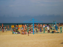 The black sea beach in the area of recreation the Russian city of Anapa, Krasnodar region. Stock Photography