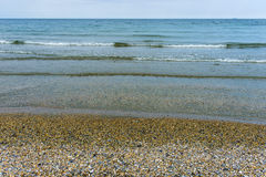 Black sea beach full of shelves. Beach on the Black sea full of shelves stock photos