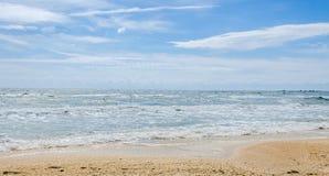 The Black Sea beach, sand, blue sky, clouds. Stock Photography