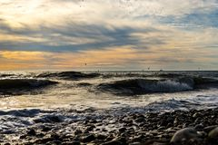 The black sea beautiful sunset stock image