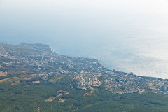 Black Sea and Big Yalta on South coast of Crimea Royalty Free Stock Image