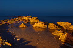 Black sea by blue hour, near Balchik, Bulgaria Royalty Free Stock Image