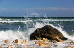 Black sea in Bulgaria. Waves breaking on the stone Stock Photos
