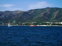The black sea, the city of Gelendzhik, Russia. Boat trip on the sea, the beautiful landscape, summer day, summer holiday on the Black sea, photo sea Royalty Free Stock Images