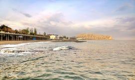 Black sea and city Sudak royalty free stock photo