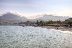 Black sea and city Sudak stock photography