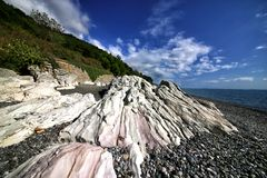 Black Sea coast of the Caucasus. Beach royalty free stock image