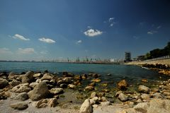 The Black Sea coast with Constanta harbour ,  Romania Stock Photo