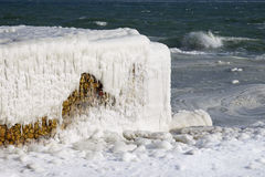 Black sea coast covered with ice Royalty Free Stock Images