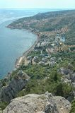 Black Sea Coast in the Crimea. Scenic view of the Black Sea coast with mountain called Cat Stock Images