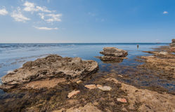 Black sea coast, located on Tarkhankut, Crimea, Royalty Free Stock Image