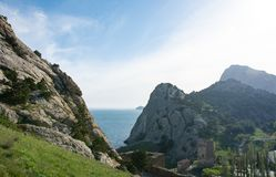 A view to Black Sea coast near Sudak, Crimea. stock image