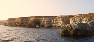 Black sea coast panorama. On sunlight Stock Photos