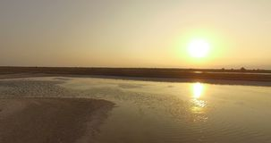 The Black Sea Coast With Patches of Brownish Wetland at a Splendid Sunset. A Pan Shot of the Black Sea Shore Covered With a Lot of Brownish Wetland and Bushes at stock footage