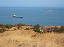 Black sea coast, ship and fortress Stock Images