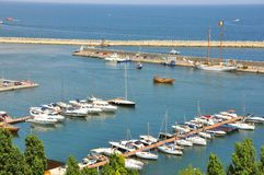 Black Sea coast with ships in Romania Stock Photography