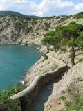Black sea coast in Sudak. Trail on the Sudak park stock photos