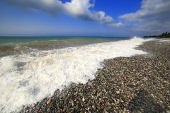Black sea coast, Tsandripsh, Abkhazia, Georgia Royalty Free Stock Images