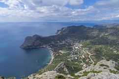 Black Sea coast. View from the top of the mountain. Crimea, Sept Royalty Free Stock Photo