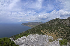 The Black Sea coast. View from the top of the mountain. Crimea, September royalty free stock photography