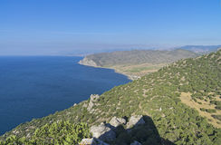 The Black Sea coast. View from the top of the mountain. Crimea, September stock images