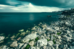 Black Sea coast. View of the Black Sea coast towards Eforie Nord and Eforie Sud resorts royalty free stock image