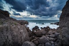 Black sea coastline of Crimea. At dusk royalty free stock images