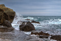 Black sea coastline before storm Royalty Free Stock Images
