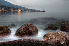 Black sea coastline before strom Stock Image