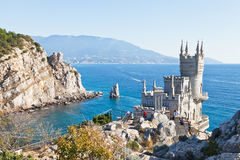 Black Sea coastline with Swallow's Nest castle Royalty Free Stock Photos