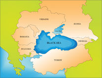 Black sea countries map Royalty Free Stock Image