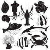 Black Sea Creature Icons Royalty Free Stock Image
